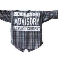 Parental Advisory Explicit Content   Vintage Flannel Unisex Shirt (Colors may vary, All Sizes Available!)