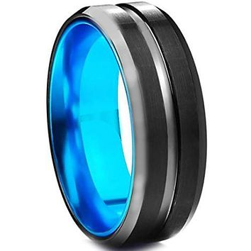 Black Engagement Rings For Her Blue Black Tungsten Carbide Center Groove Ring