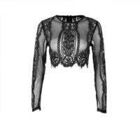 New Lace See-through Tops Ladies Shirt Women Top Black Red  O Neck Long Sleeve Short Sexy Zipper Womens Blouses #63 SM6