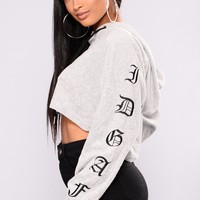 IDGAF Velour Lounge Hoodie - Heather Grey