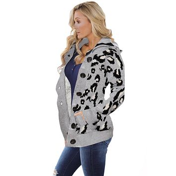 Gray Long Sleeve Button-up Hooded Leopard Print Cardigan