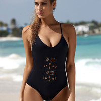 Hollow Out Bathing Suits Black Bikini one-piece Swimsuits Bikini Set