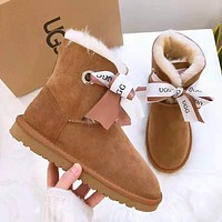 """""""UGG"""" Winter Fashionable Women Warm Bowknot Wool Snow Boots Brown"""