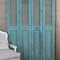 Vintage French Wood Painted Green Architectural Sh
