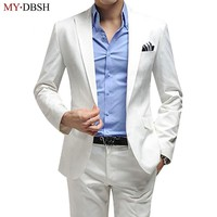 (Jacket+Pant) Luxury Men Wedding Suit Man Blazers Slim Fit Suits For Men Costume Business Formal Party Sliver Classic Black