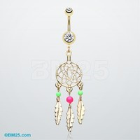 Golden Classic Beaded Dreamcatcher Belly Button Ring