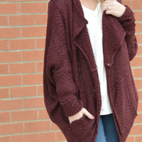 Weather Or Not Cardigan - Burgundy