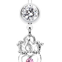 Crowned Heart Key Belly Button Ring