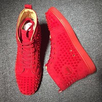 Christian Louboutin CL Louis Spikes Mid Style #1808 Sneakers Fashion Shoes Online