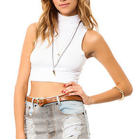 The Turtle Neck Crop Top in White