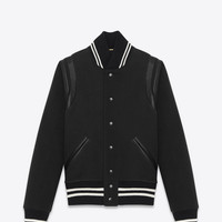 CLASSIC TEDDY JACKET IN BLACK WOOL GABARDINE AND LEATHER