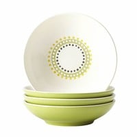 Rachael Ray Dinnerware Circles and Dots 4-Piece Stoneware Fruit Bowl Set in Print-58730 at The Home Depot