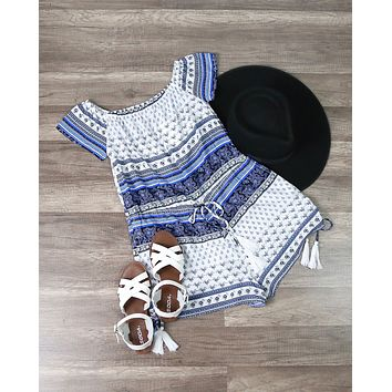Final Sale - Lovecat - Vacation Ready Romper in White/Blue