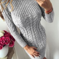 Women's O-Neck Long Sleeve Warm Knitted Sweater Dress