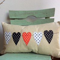 "Valentine's Day, pillow cover, heart motif, ecru linen, appliqued and embroidered pillow size 16""X 16"""