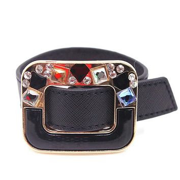 European Fashion Punk Wide Double Color Leather Cuff Bracelets & Bangles for Women