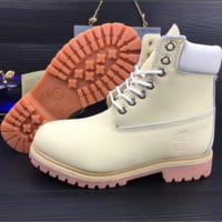Timberland Rhubarb boots for men and women shoes waterproof Martin boots lovers Beige-white