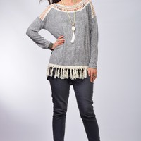 Entro Charcoal Knit Top with Fringe Trim and Crochet Lace Neckline and Shoulders