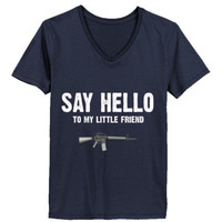 Say Hello To My Little Friend Scarface - Ladies' V-Neck T-Shirt
