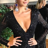 Exit Stage Right Black Sequin Long Sleeve Plunge V Neck Mermaid Trumpet Maxi Dress