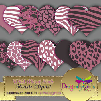 """80% OFF Sale WILD About Pink 8"""" Clip Art commercial use, digital scrapbook papers, vector graphics, printable, Instant Download"""