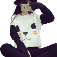 New Womens Cute Bear Embroidery Sweater Gift-33
