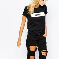 Adolescent Clothing Boyfriend T-Shirt With Wanted Print
