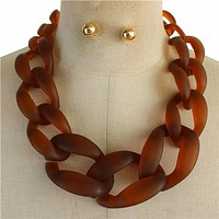 """18"""" acrylic curb large chain link necklace .50"""" earrings"""