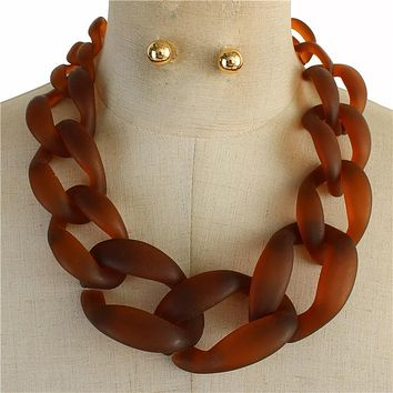 "18"" acrylic curb large chain link necklace .50"" earrings"