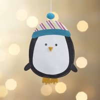 Paper Penguin with Striped Hat Ornament