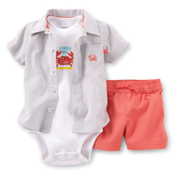 Little Surfer 3-Piece Woven Shirt & Short Set