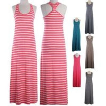 Scoop Neck Striped Band Tied Back Sleeveless Tank Top Maxi Long Dress