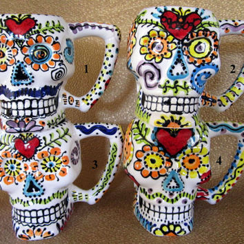 Sugar Skull Monster Mug for Day of the Dead, Halloween and Year Round