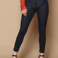 Just Black Super High Frayed Hem Skinny - Indigo