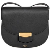 Celine Women's Trotteur Grained Calfskin Leather Cross Body Handbag, Black, Small