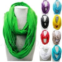 Women Fashion Solid Soft Touch Infinity Scarf Loop Cowl Neck Plain Wrap Shawl = 1958244164