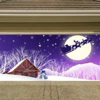 Christmas Garage Door Cover Banners 3d Santa In A Sleigh Snowman Holiday Outside Decorations Outdoor Decor for Garage Door G80