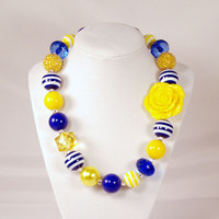 Girls Boutique Jewelry Gumball Necklace Yellow and Royal Blue Flower Chunky Beaded Necklace Flower Necklace