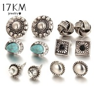 17KM 6pairs/ set Vintage Crystal Heart Earrings For Women Stone Beads Ear Cuff Piercing Ears Clips Steampunk Love Party Earring