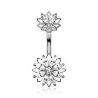 Marquise Sparkle Flower Internally Threaded Belly Button Ring