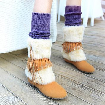 Tassel Snow Boots Suede Winter Wedges Women Shoes
