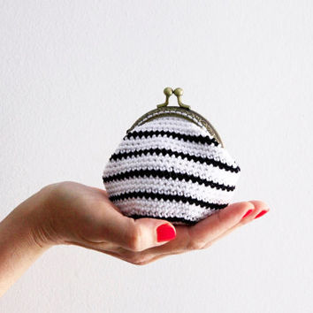 Crochet coin purse, the Black Line Keeper, in black and white