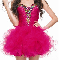 Prom Dresses- PInk Short Cinderella Style Dress with Gems SIzes XS-3X