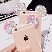 Luxury 3D Diamond Glitter Mickey Mouse Ears Case For iphone 7 7 Plus Case Rhinestone Clear Phone Cases Back Cover For iPhone7