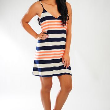 Light Up The Town Dress: Navy/Neon Coral