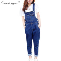 ShowMi Apparel Ladies Jumpsuit Jeans 2016 Spring Autumn Korean Casual Ripped Hole Loose Pockets Long Blue Denim Overalls Women