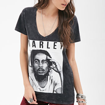 FOREVER 21 Bob Marley Graphic Tee Charcoal/White