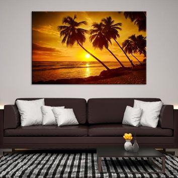72178 - The Sunset with the Palm Trees on the Island Canvas Print