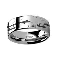 Fishing Boats on Lake Scene Engraving Tungsten Carbide Band