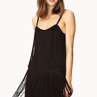 FOREVER 21 Iconic Fringe Dress Black